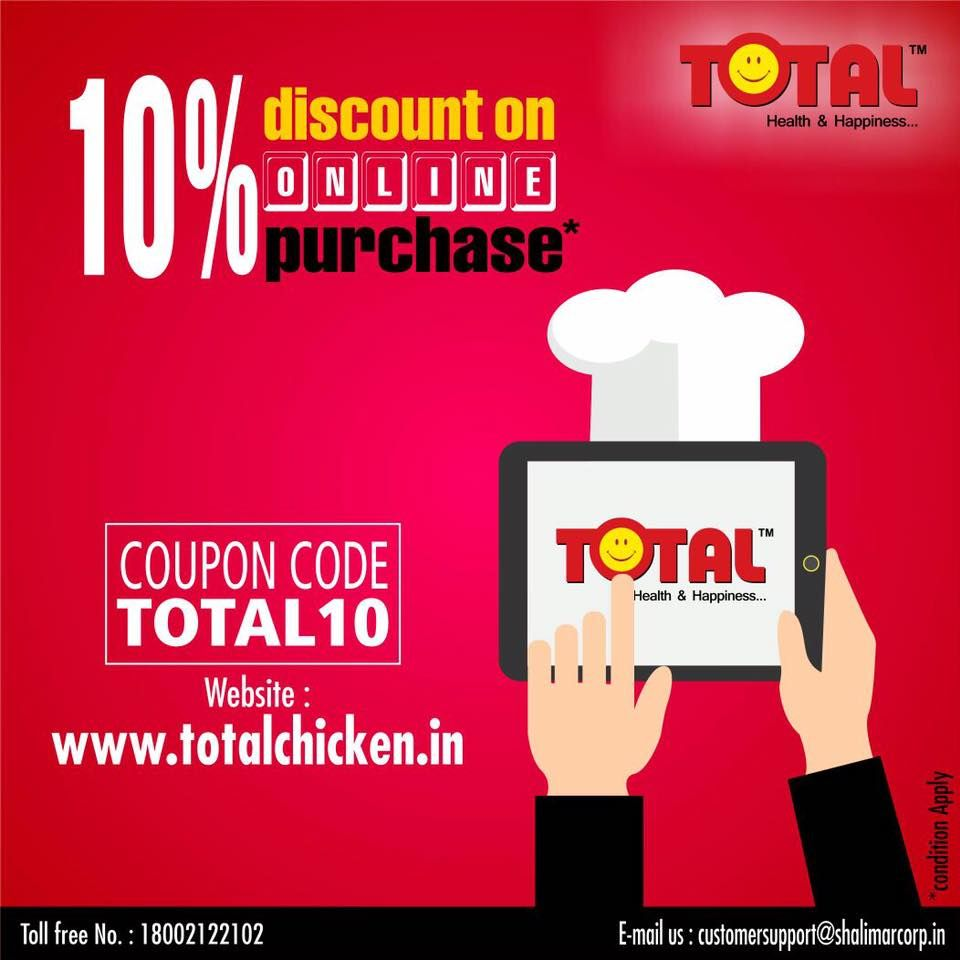 Now 10 Discount On Online Purchase Your Coupon Code Total10 Www Totalchicken In Fresh Chicken Coupon Codes Coding