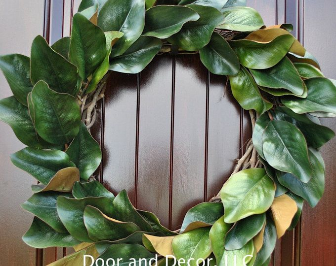 Magnolia Wreath Artificial Leaves Front Door Wreaths Monogram Southern