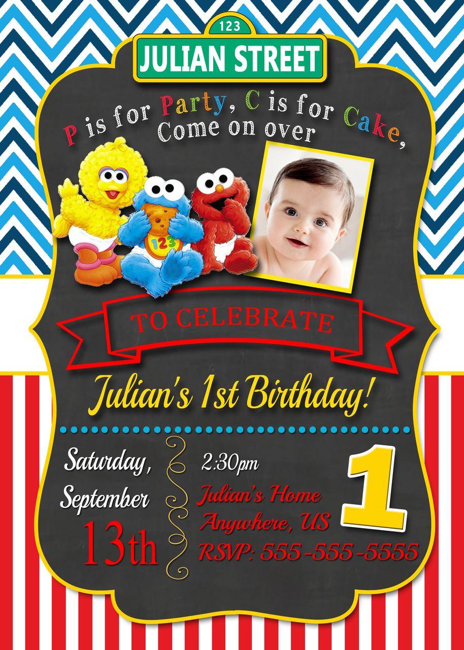 Sesame Street Birthday Party Invitations Google Search