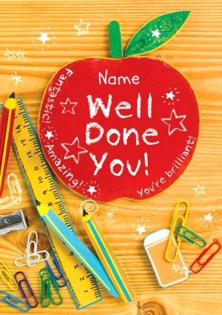 Pencil Box - Students Apple Personalised Well Done Exam Card - best wishes for exams cards