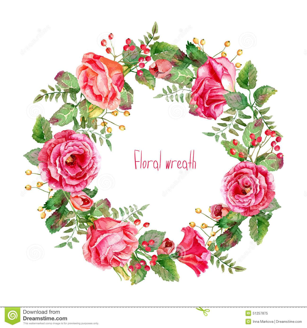 Vector Round Frame Of Watercolor Roses And Berries Download From Over 47 Million High Quality Stock P Wreath Watercolor Watercolor Flowers Flower Vector Art
