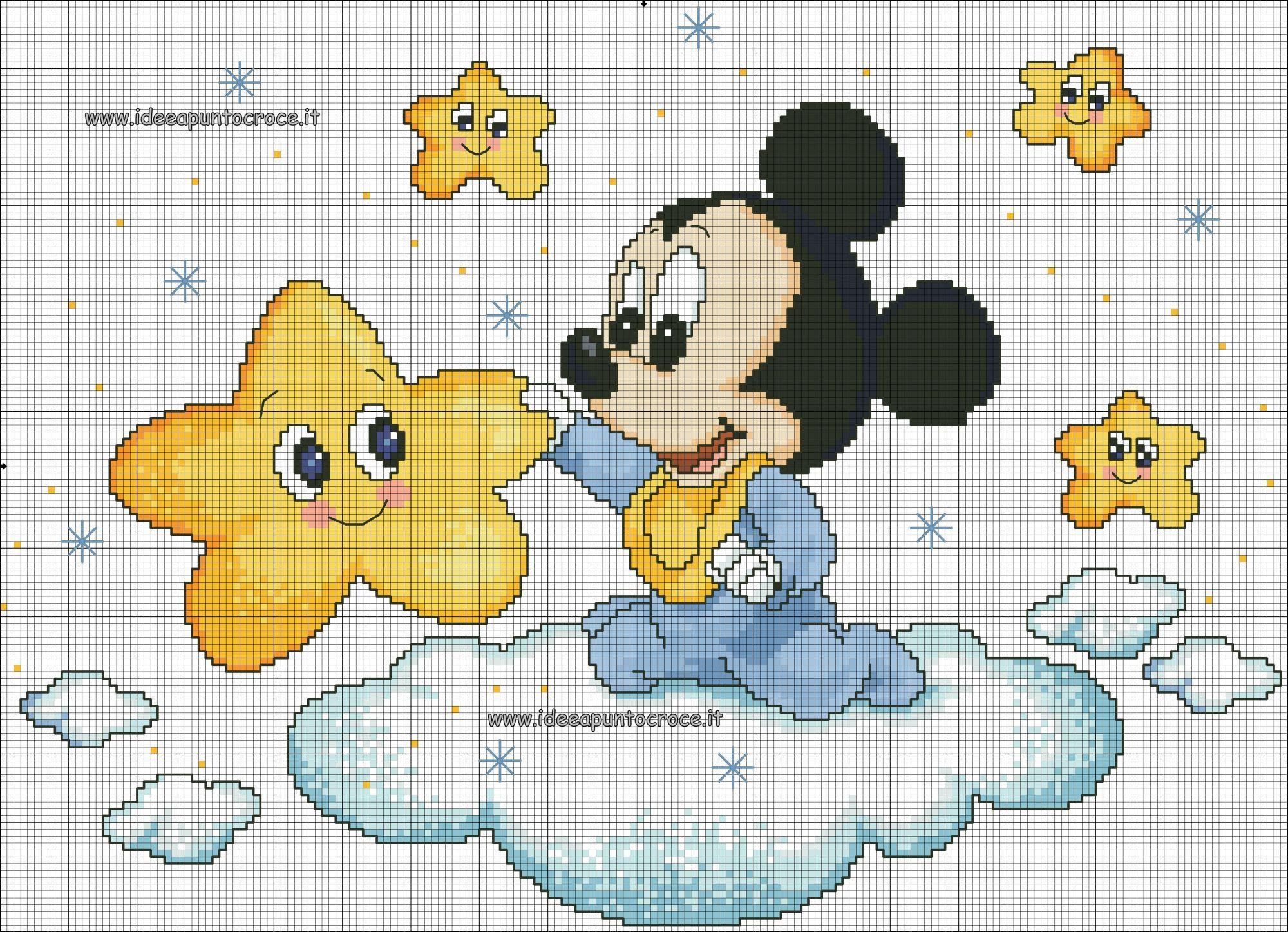 Bambini Disney ~ Schema punto croce baby topolino copertine pinterest