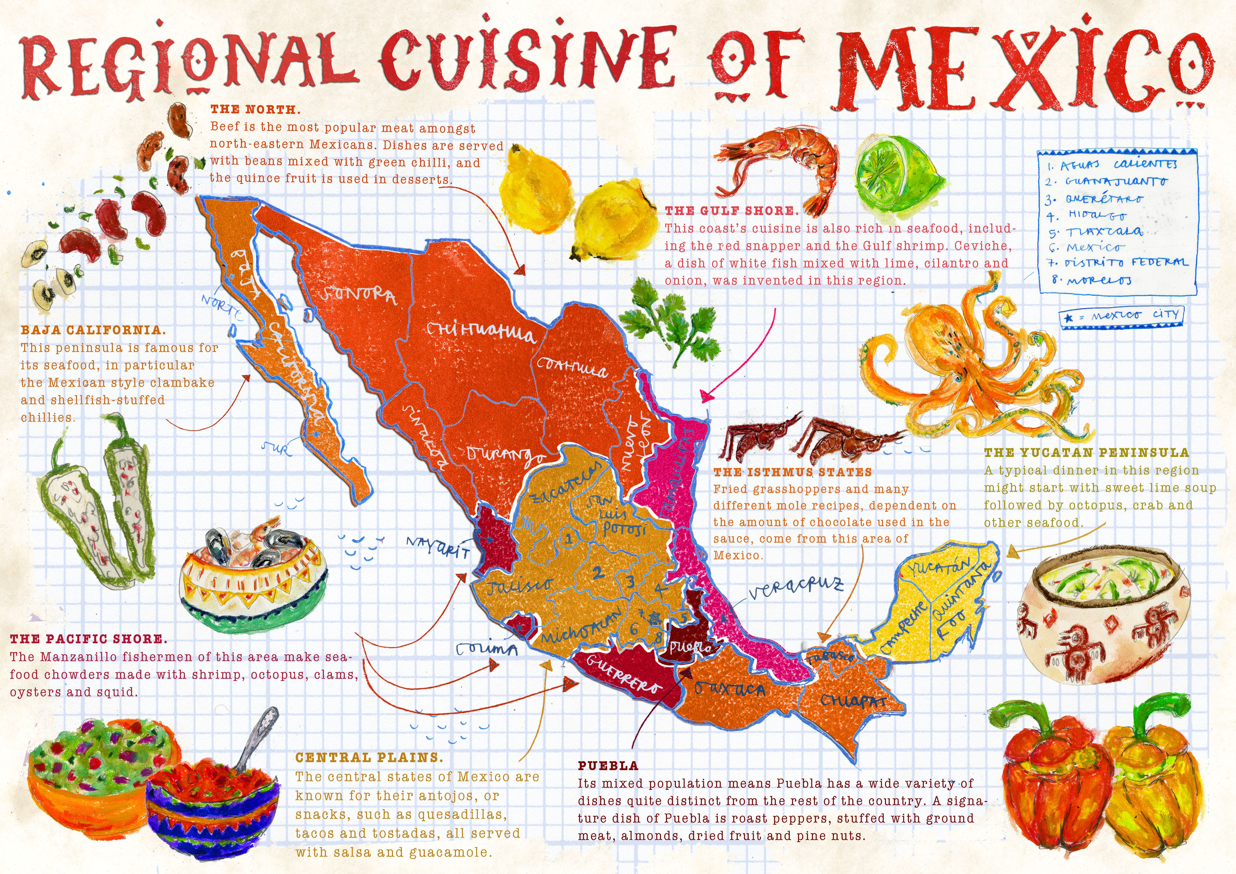 Lisa Prisk - Map of Mexico showing the regional cuisine
