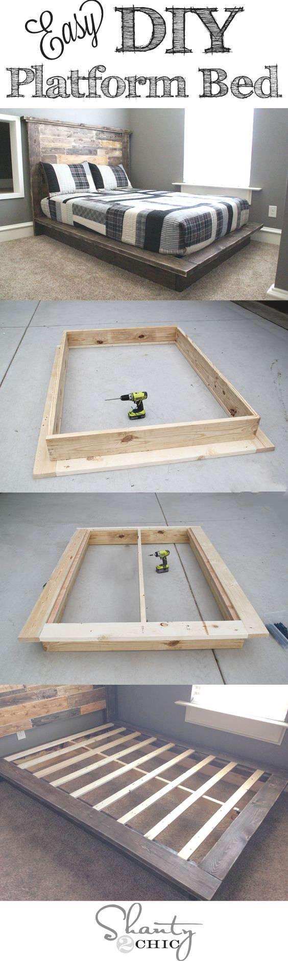 Fabriquer un lit plateforme en bois. Platform bed diy   Deco   Lit ...