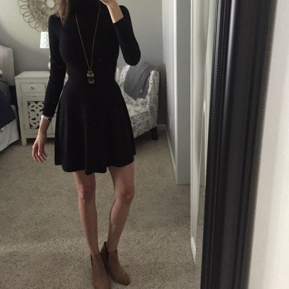 65b80ce5e32 Theory Sweater Dress Black, slight turtle neck dress which hits just above  the knee. Theory Dresses Long Sleeve