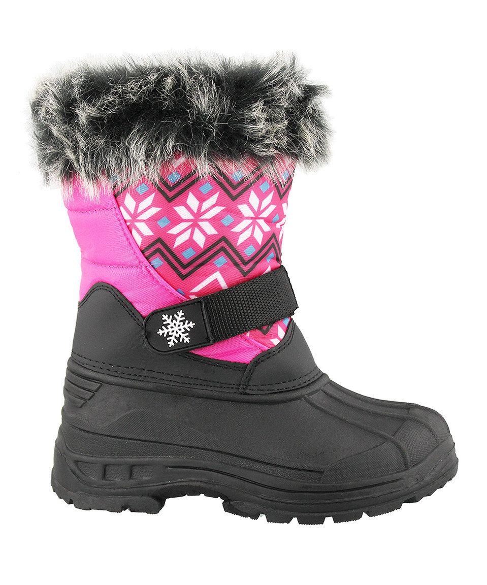 JANDS by Transco Fuchsia Geometric Faux Fur Snow Boot by JANDS by Transco #zulily #zulilyfinds