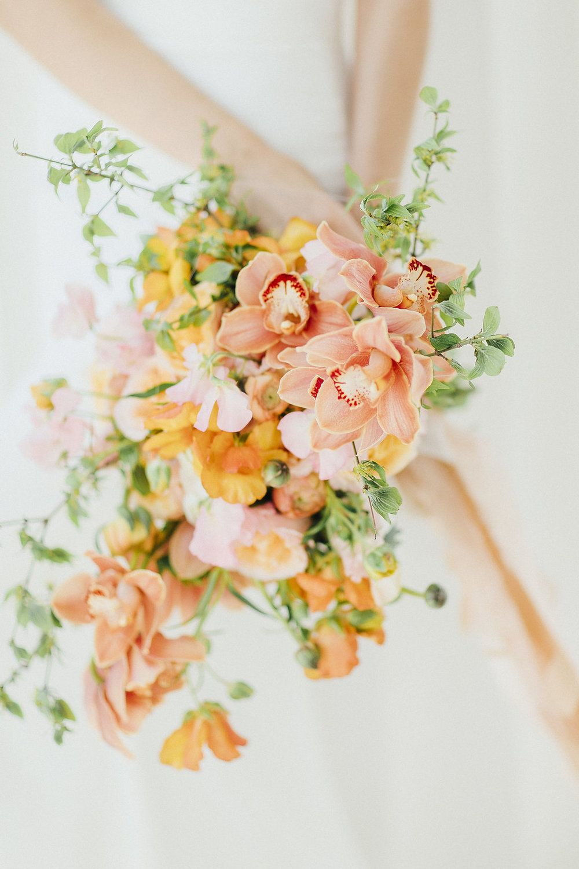 Wedding Flowers Bridal Flowers Yellow Pink Orange Silk Wedding Bouquet Silk Bridal Bouquet