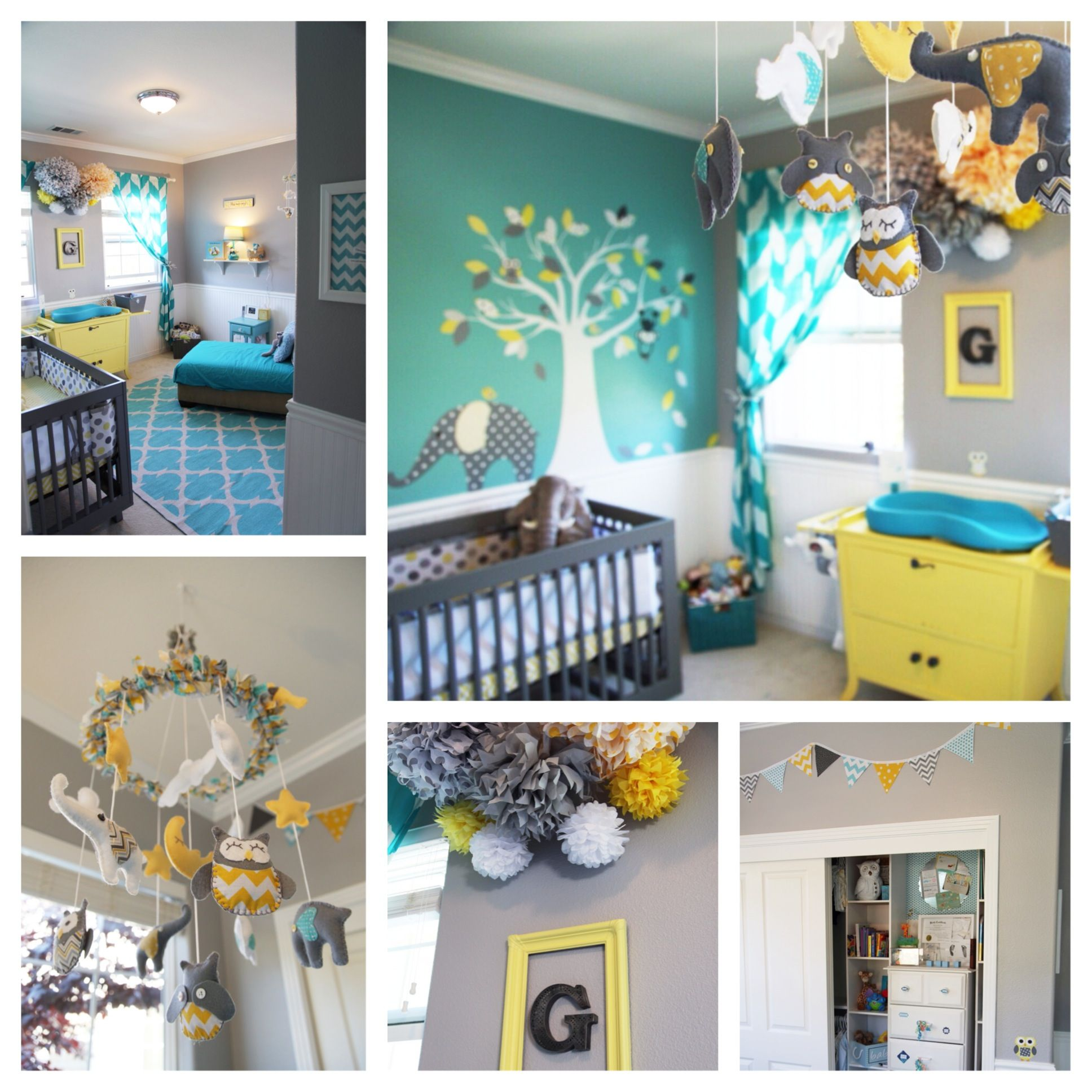 Yellow Grey Nursery Grey Teal Nursery Baby Boy Nursery Teal