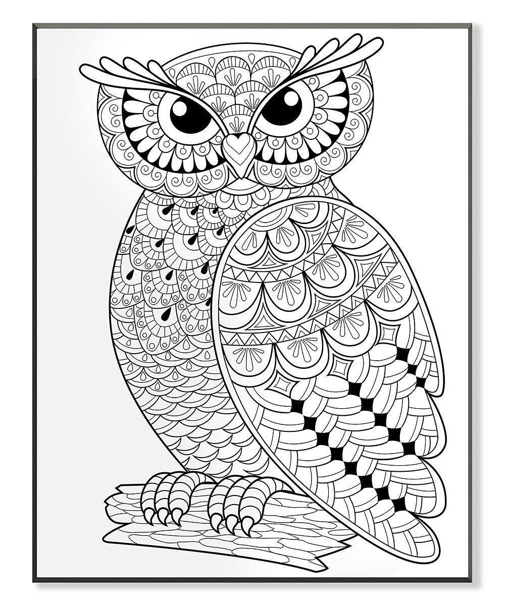 Wise Owl On A Log Coloring Wall Art