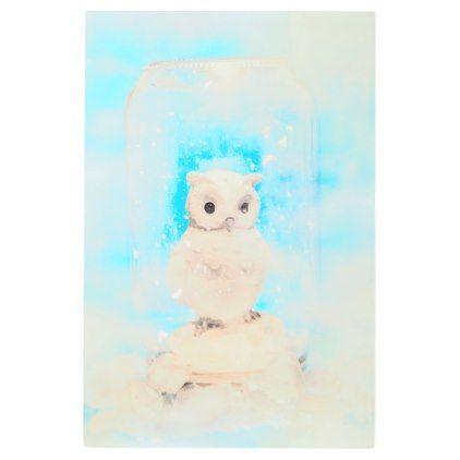 #Posters #Metal #Art - #Glass jar winter owl metal print