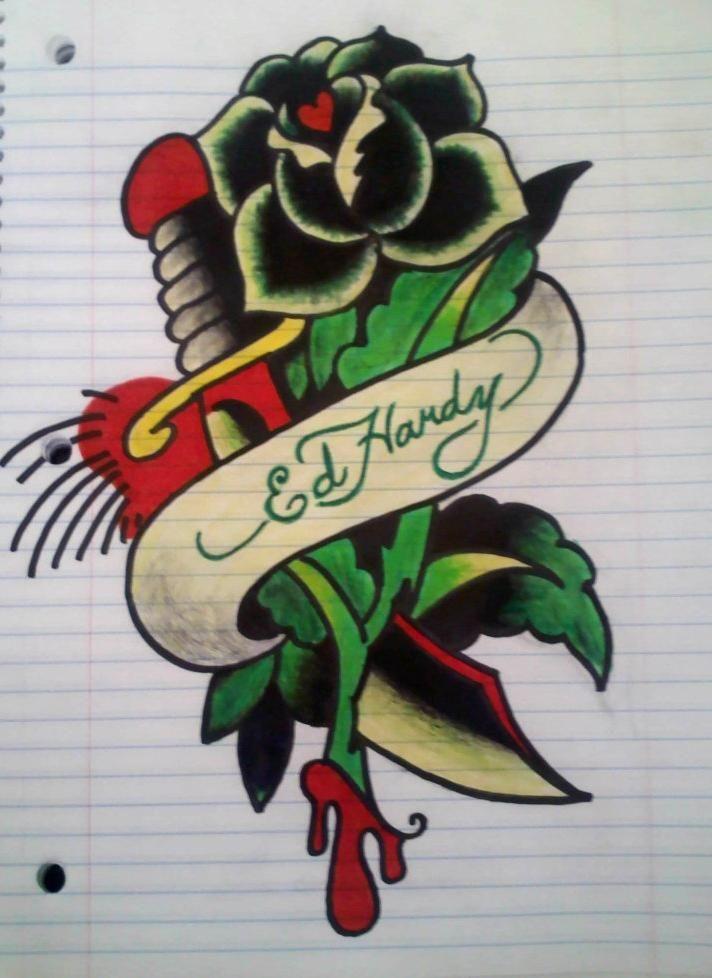 Ed Hardy Drawing By Los19 On Deviantart Ed Hardy Tattoos Ed Hardy Designs Mandala Tattoo Design