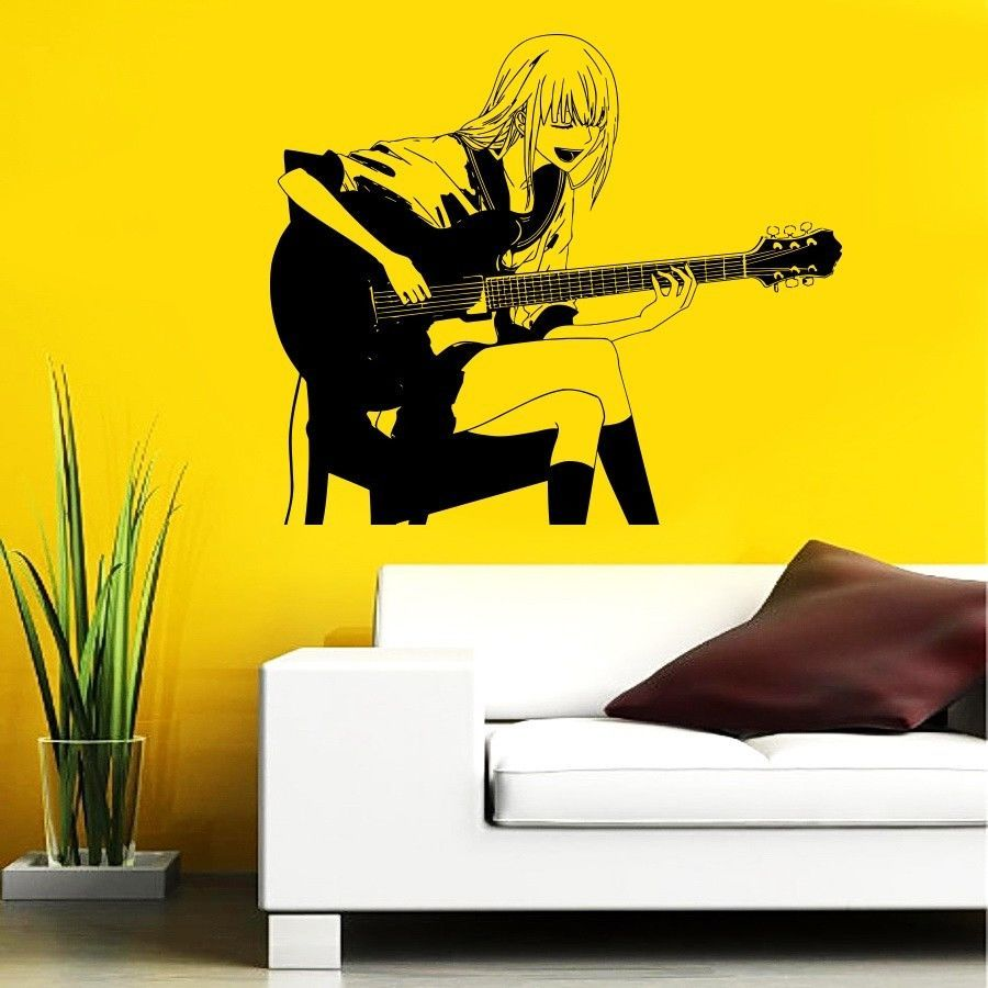 Guitar rock band star girl music anime wall vinyl sticker decals ...
