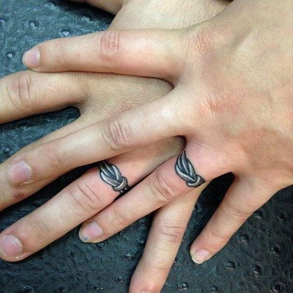40 sweet meaningful wedding ring tattoos wedding band for Interlocking wedding rings tattoo