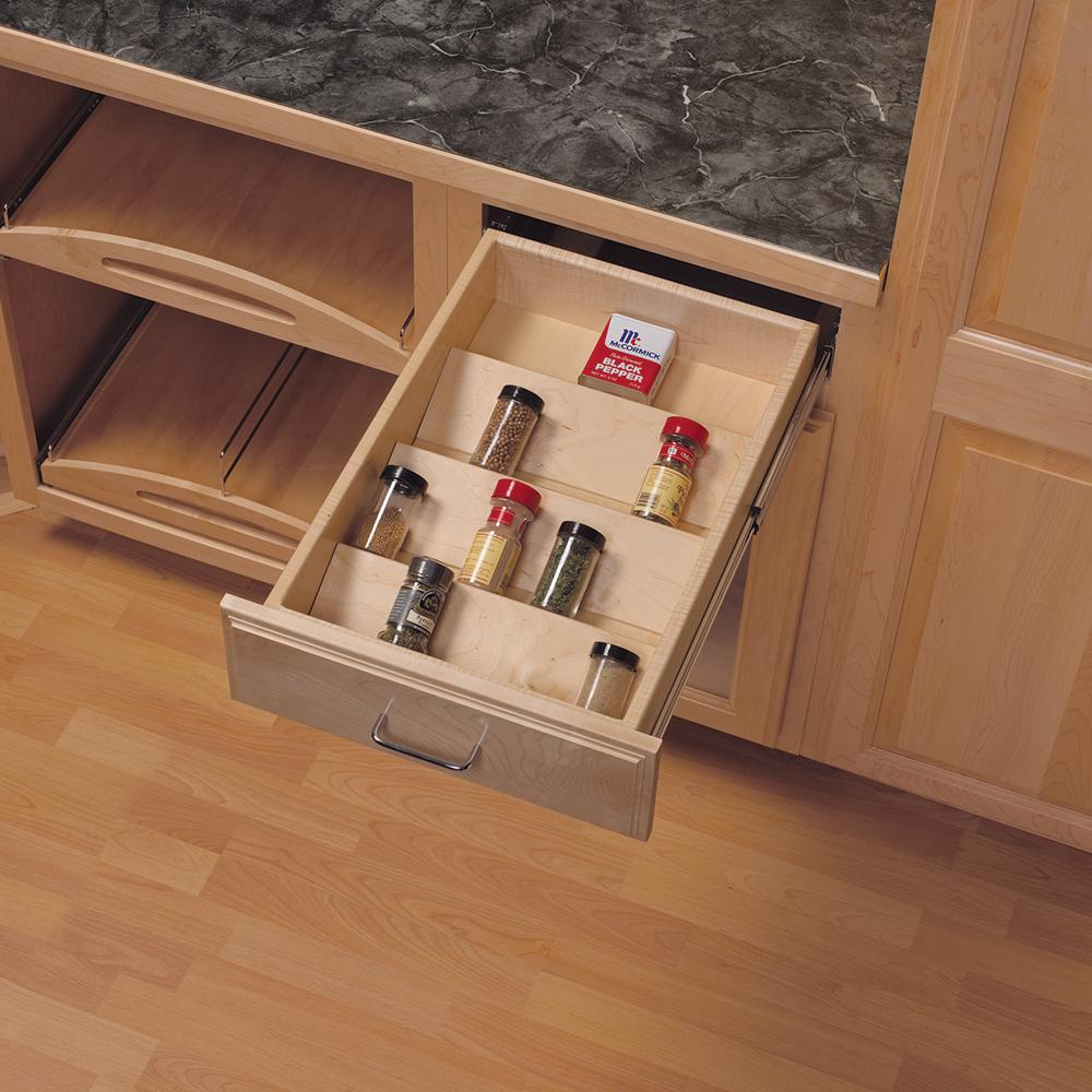 Knape & Vogt 1 81 in  x 10 125 in  x 19 5 in  Wood Spice Drawer Organizer, Light Brown Wood is part of Spice Organization Island - This Wood Spice Drawer Organizer, from Real Solutions by Knape & Vogt, accommodates a 10 in  drawer  Organizer features 4 rows for easy organization and identification of spices (spices sold separately)  Birch veneer finish complements most interior wood drawer finishes  Color Light Brown Wood