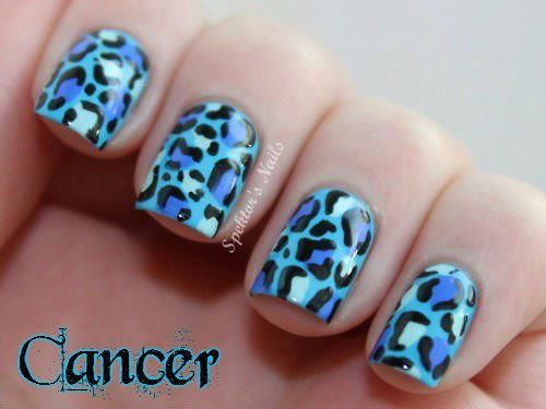 Blue Animal Print Nails