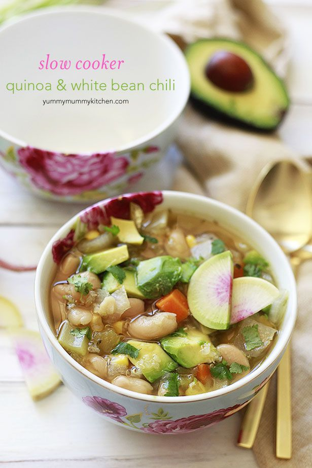 Slow Cooker White Bean and Quinoa Veggie Chili #mulligatawnysoup