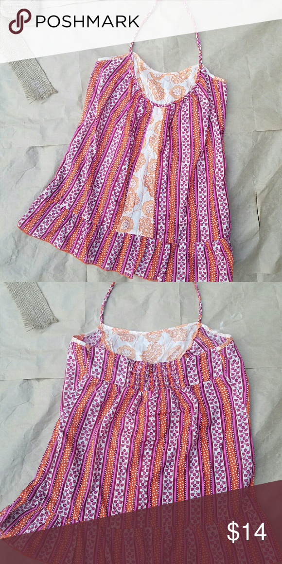 ????SALE! Decree Orange floral halter sz M NWT Brand: Decree Size: Women's medium Style: Halter, stretchy back, beautiful orange, white, pink and purple colors. Condition: New with tags Decree Tops Tank Tops