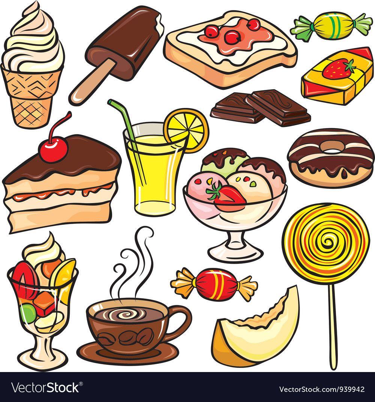 Desserts Sweets Drinks Icon Set Royalty Free Vector Image Cute Food Art Cute Food Drawings Food Drawing