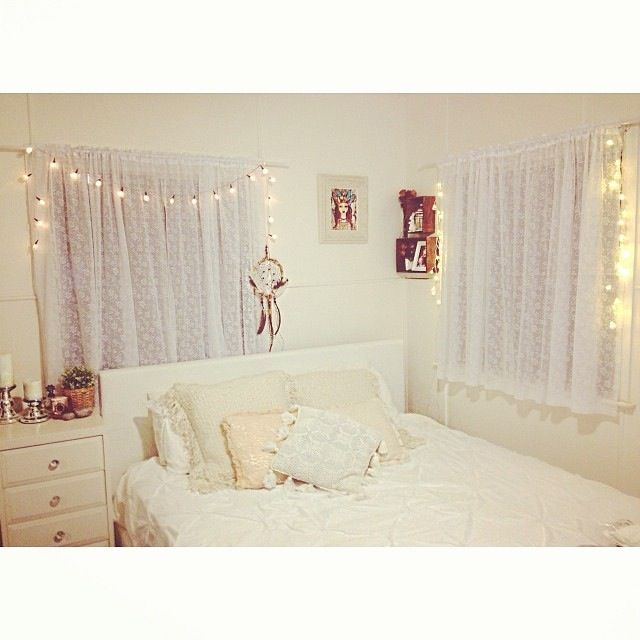 White Bohemian Bedroom Lace Curtains String Fairy Lights Crochet Pillows