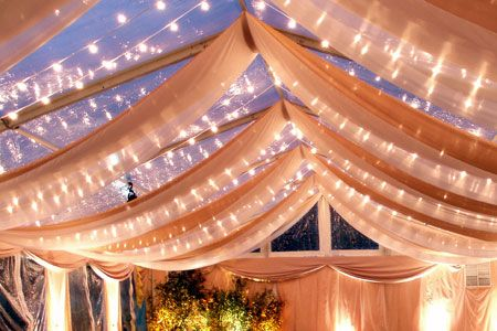 Fabric swags, twinkle lights, clear-top tent.  I love #evening #wedding #receptions