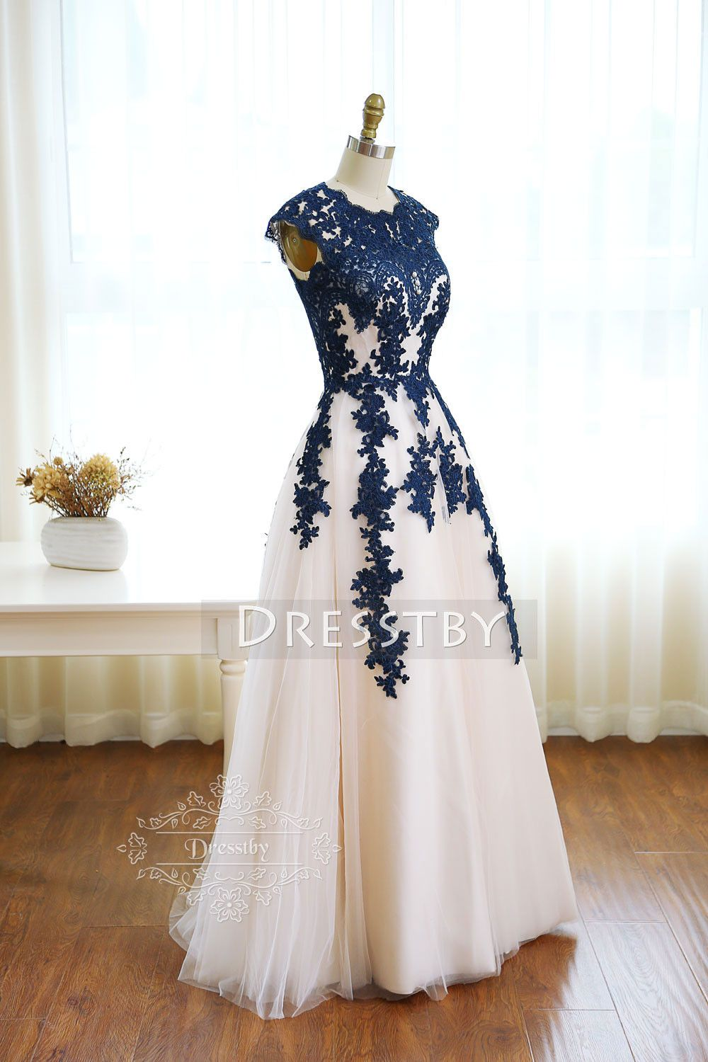 Dark blue round neck tulle lace long prom dress bridesmaid dress