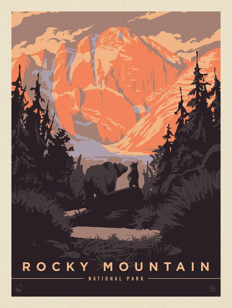 Rocky Mountain National Park Bear Hug Anderson Design Group National Park Posters Retro Travel Poster Vintage Poster Design
