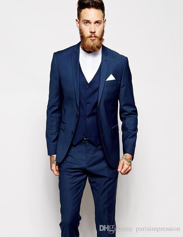 buy New Arrival men tuxedos blue wedding suits for men 3 pieces ...