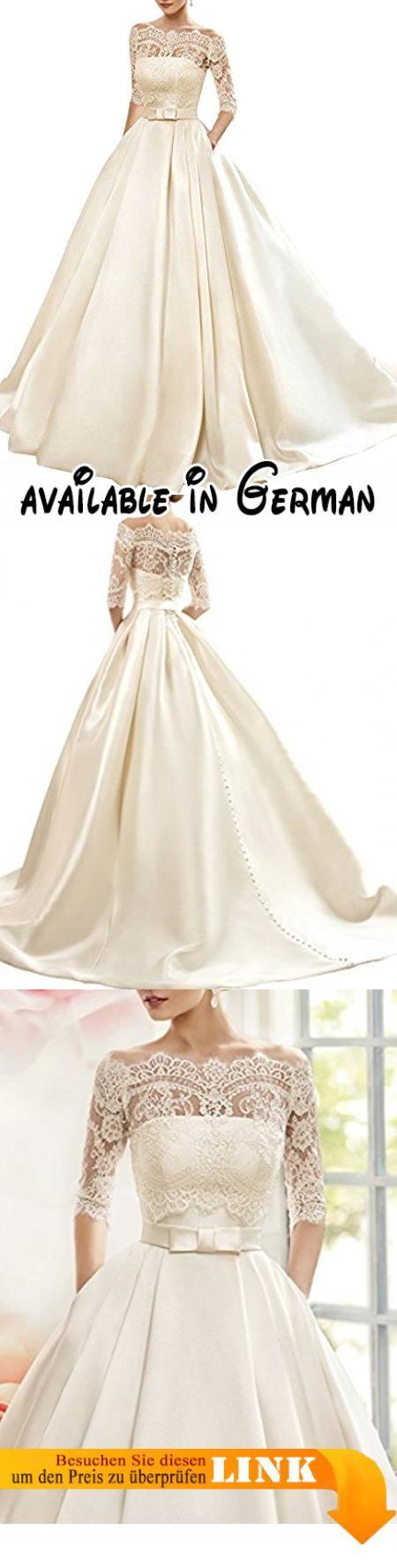 ccc593f972faf5 Changjie Damen Bateau 3/4-Arm Brautkleider Hochzeitskleider Prinzessin  Hochzeitskleider A-linie Langarm Kleider. brautkleider hochzeitskl…