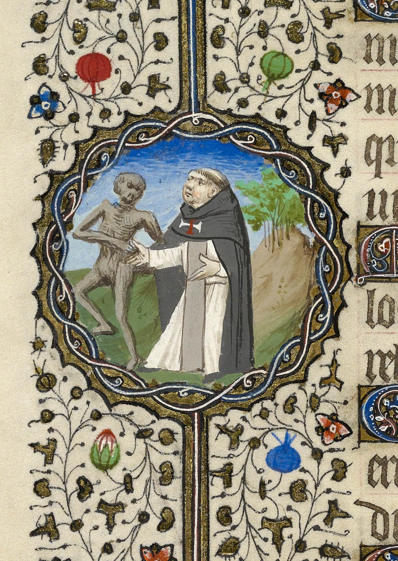 Skeleton with Monk | Book of Hours | France, Paris | 1430-1435 | The Morgan Library & Museum