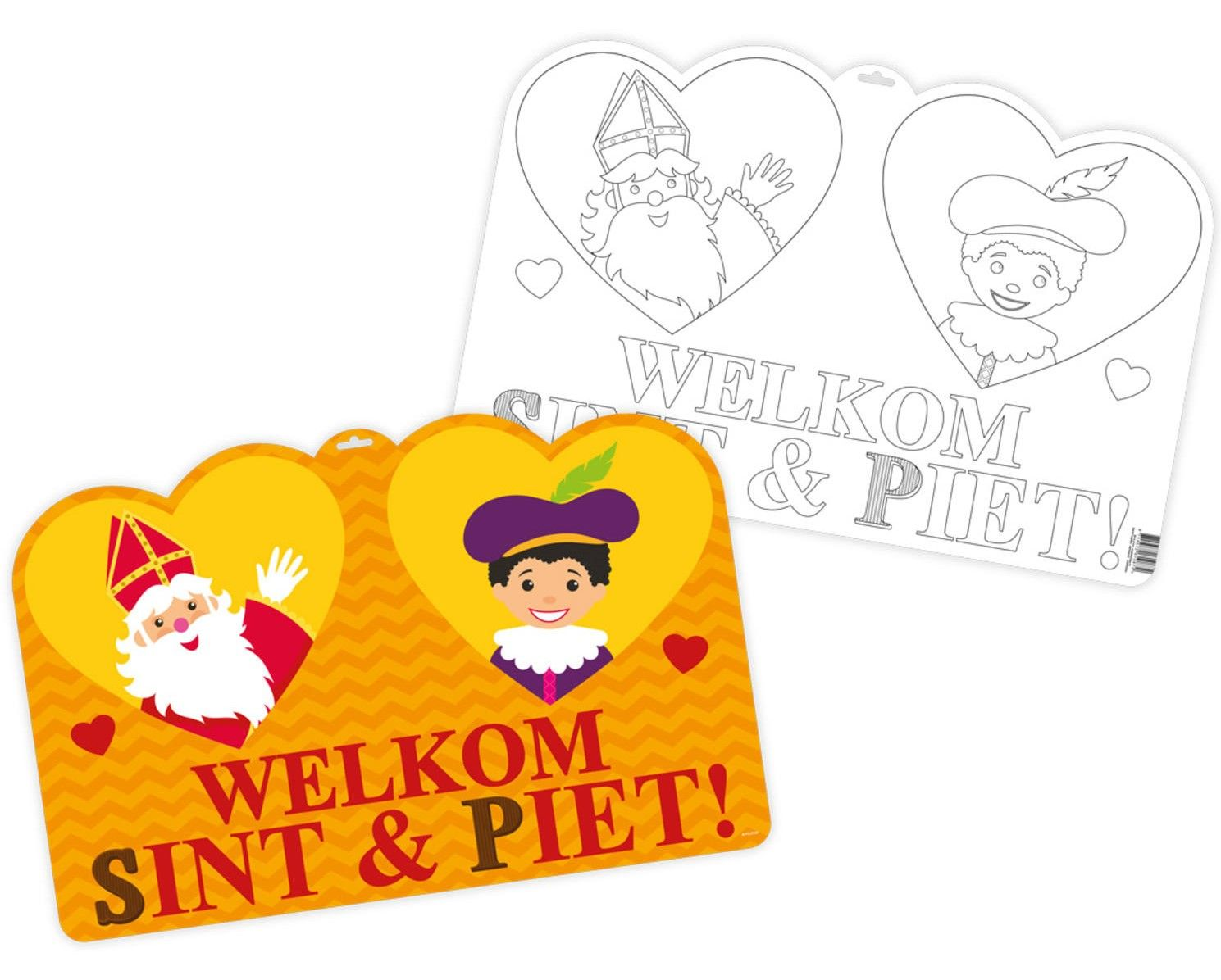 Deurbord Sint En Piet Sinterklaas Vlaggenlijnen Kleurplaten