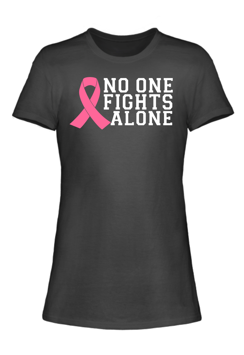 no one fights alone breast cancer awareness t shirt breast