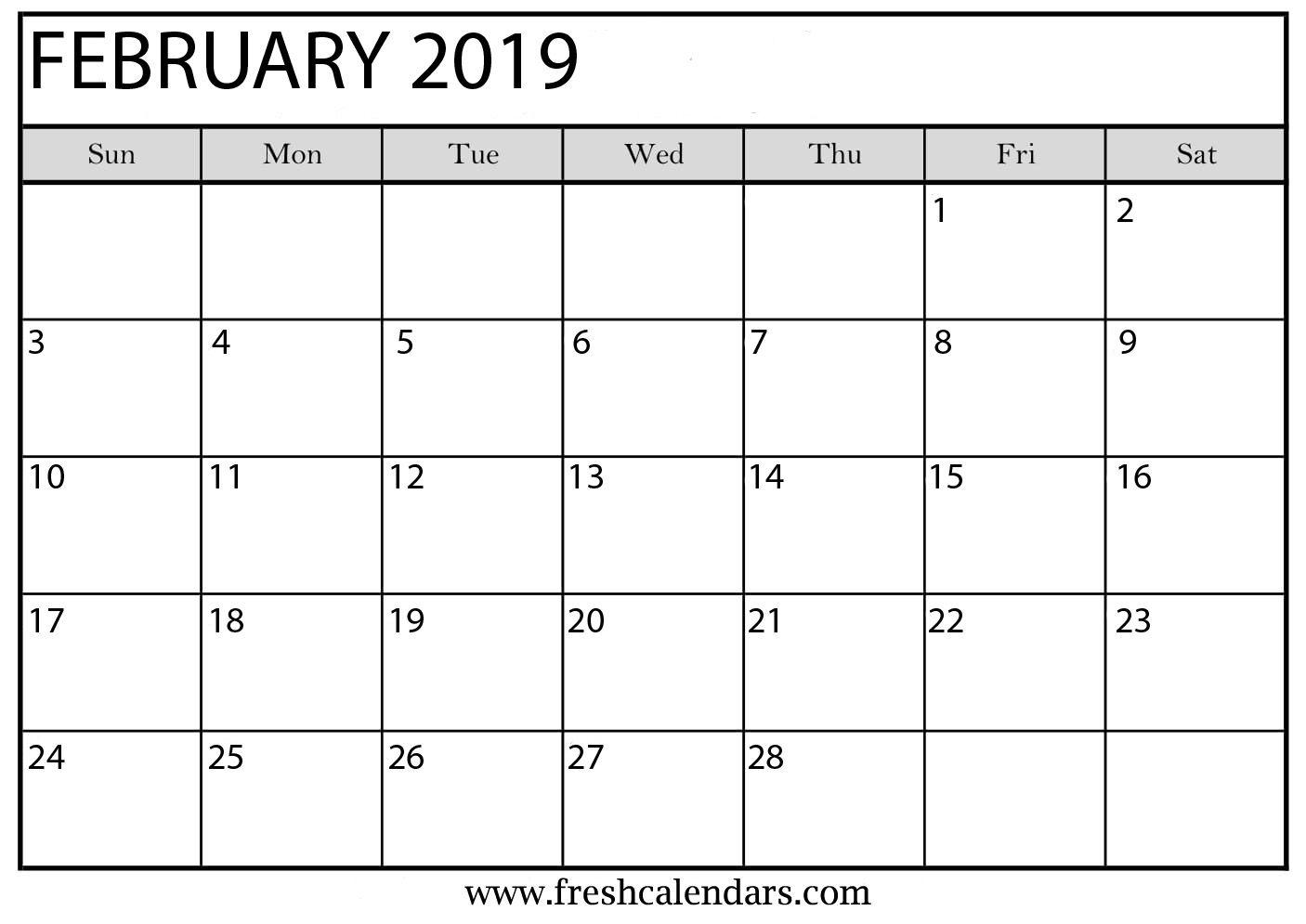 Calendar February 2019 Printable Template With Holidays Calendar