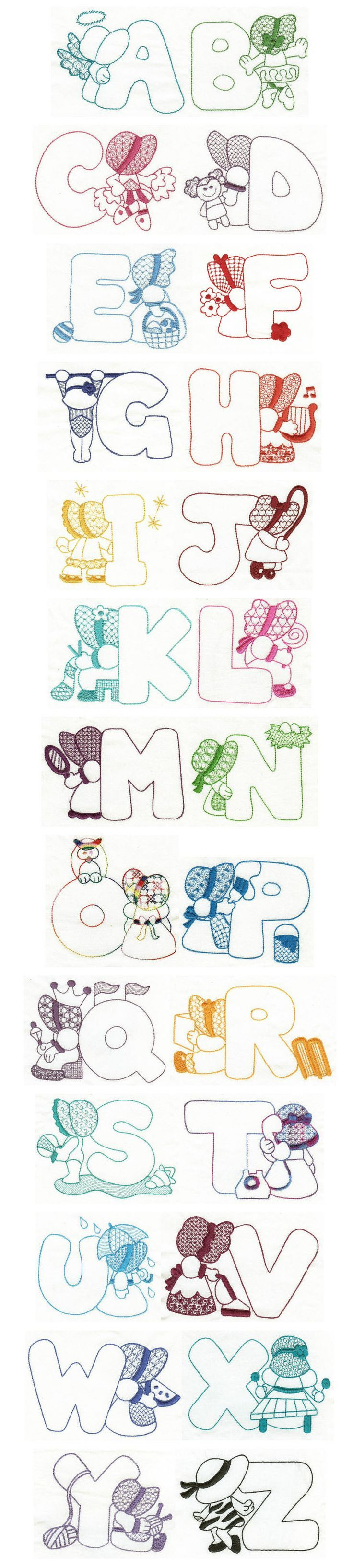 Embroidery free machine designs sunbonnet