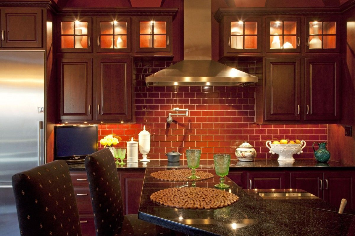 Red Brick Tiles Kitchen Brick Red Kitchen Cabinets Cliff Kitchen