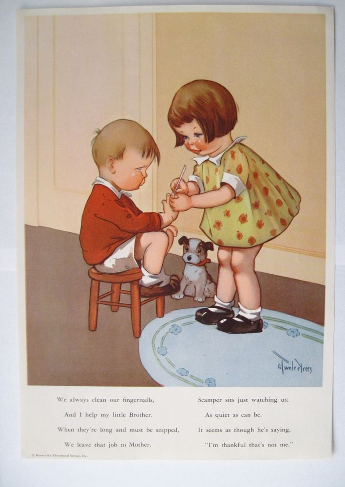 Darling Vintage Print by Twelvetrees of Rosey Checked Girl Cleaning Fingernails