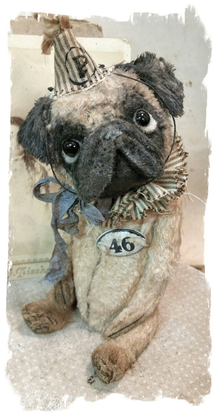New Design - A PUG Dog handmade by Wendy Meagher of Whendi's Bears - An…