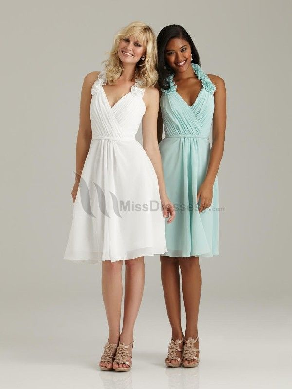 Buy fashion A-Line Halter Natural Waist Ruched Knee-Length Cheap Chiffon Bridesmaid dress Bridesmaid Dress under $119.99 only in MissDressesy.