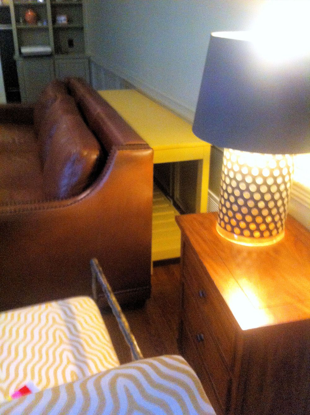Custom slat shelf console in Pyramid Yellow -  Made just for Jennifer in Roswell, GA. #uniqueyourhome #custommadeatlanta