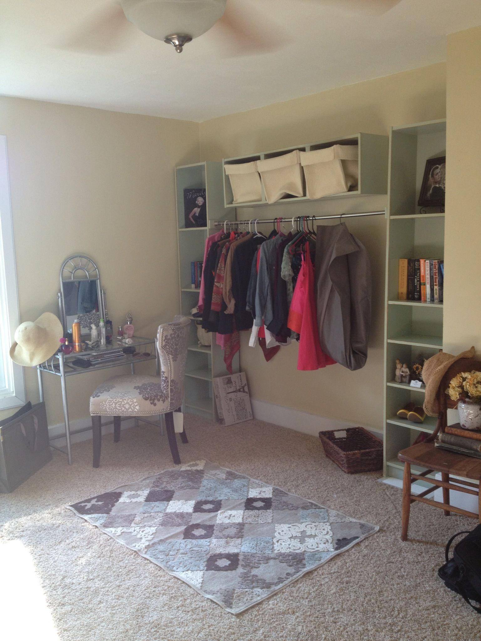 How to arrange a very small living room exposed closet with bookcases from ikea  organizing ideas