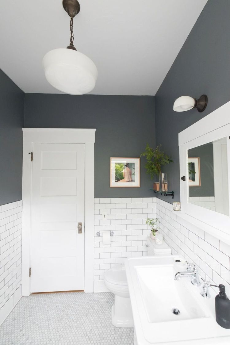 Two Tone Bathroom Small Bathroom Makeover Gray And White Bathroom Best Bathroom Colors