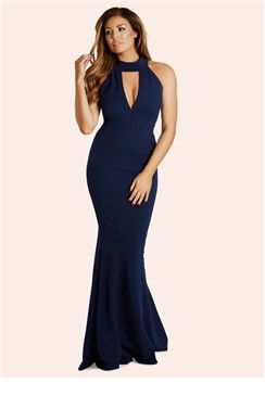 2a31e5b4747 Jessica Wright Arina Navy High Neck Plunge Maxi Dress