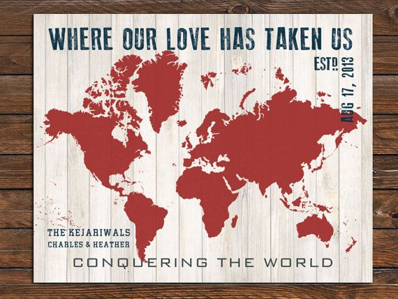 World map weathered world love 20x24 inches custom sizes and world map weathered world love 20x24 inches custom sizes and colors available farewell gift newlyweds couples travel gumiabroncs Choice Image