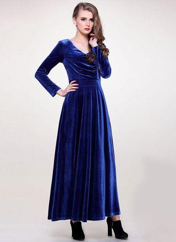 V Neck Blue Velvet Maxi Dress with Long Sleeves RM406 – RobePlus