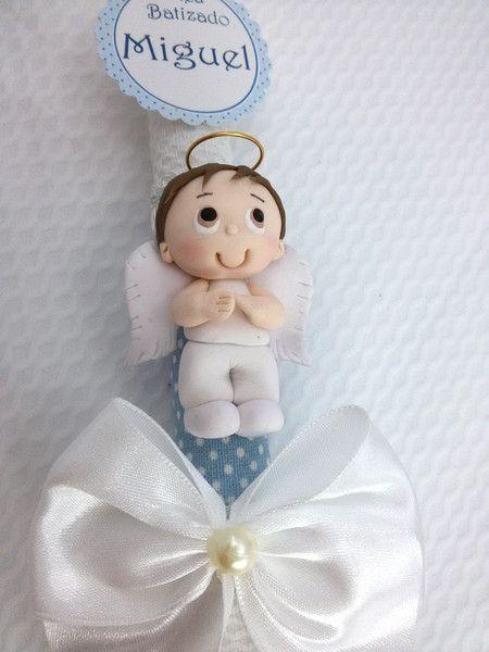 Vela decorada batizado com anjinho