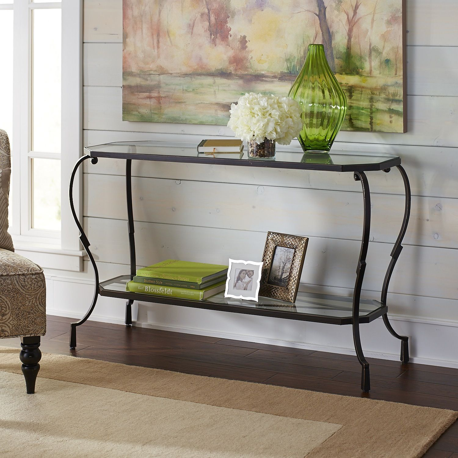 Glass console table decor  Chasca Glass Top Brown Console Table  Products  Pinterest