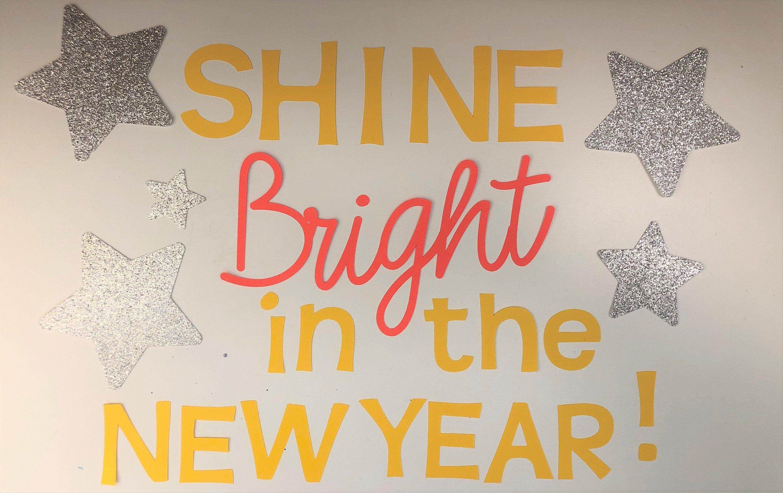 Teacher Bulletin Board Kit New Year Shine Bright with font ...