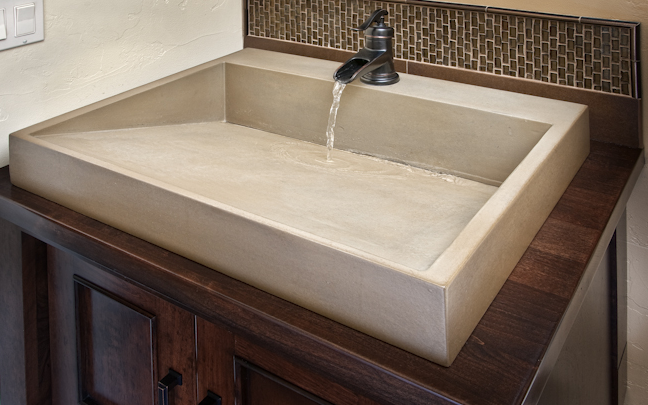 Bathroom Sinks Dallas this concrete bathroom vanity has a crescent shaped sink and the