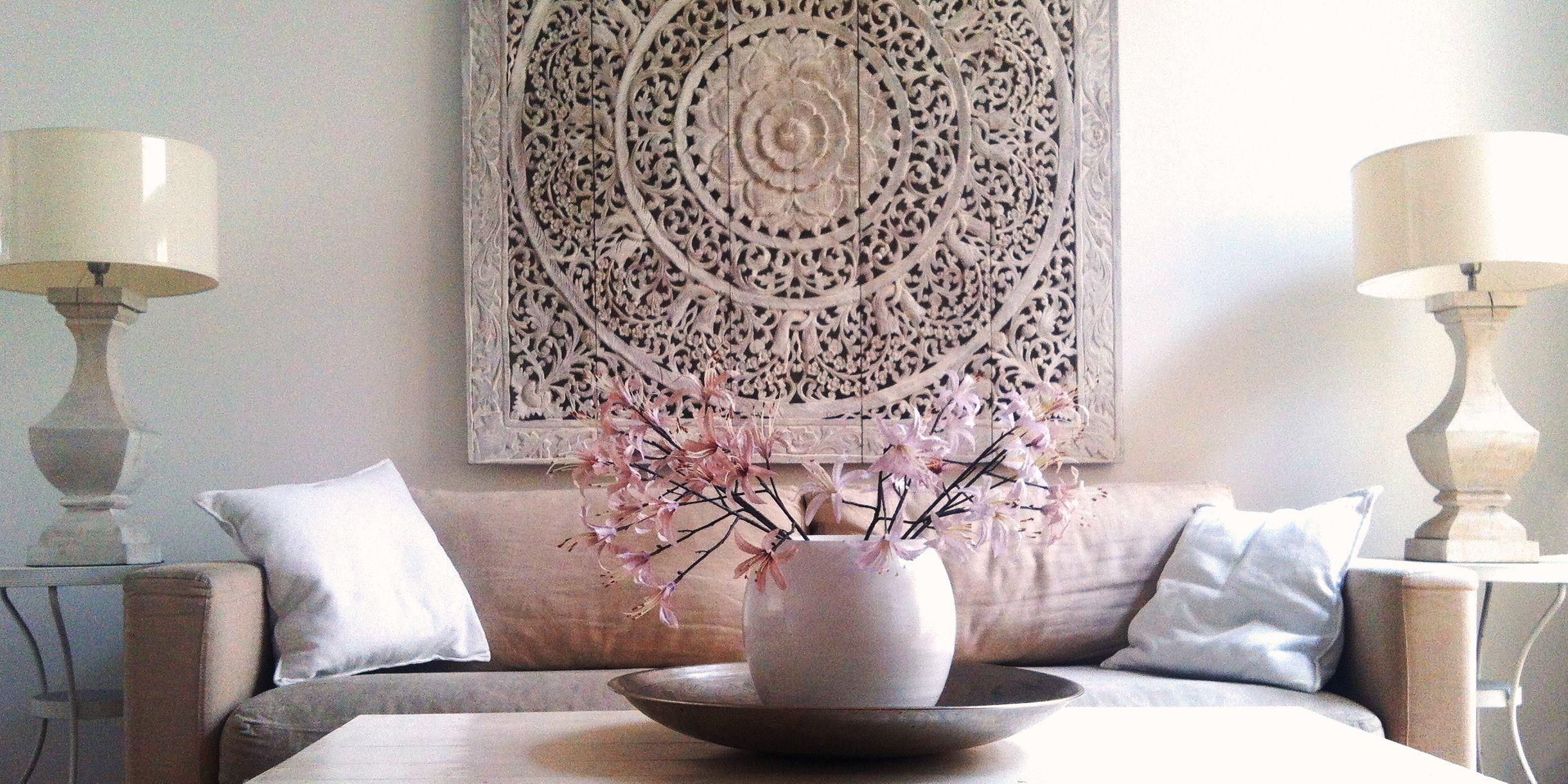 SIMPLY PURE Houtsnijwerk wandpanelen, houten panelen, houten tafeltjes, vloervazen, hanglampen, wikkelarmbanden. | Thuisdecoratie, Decoraties, Wandpanelen