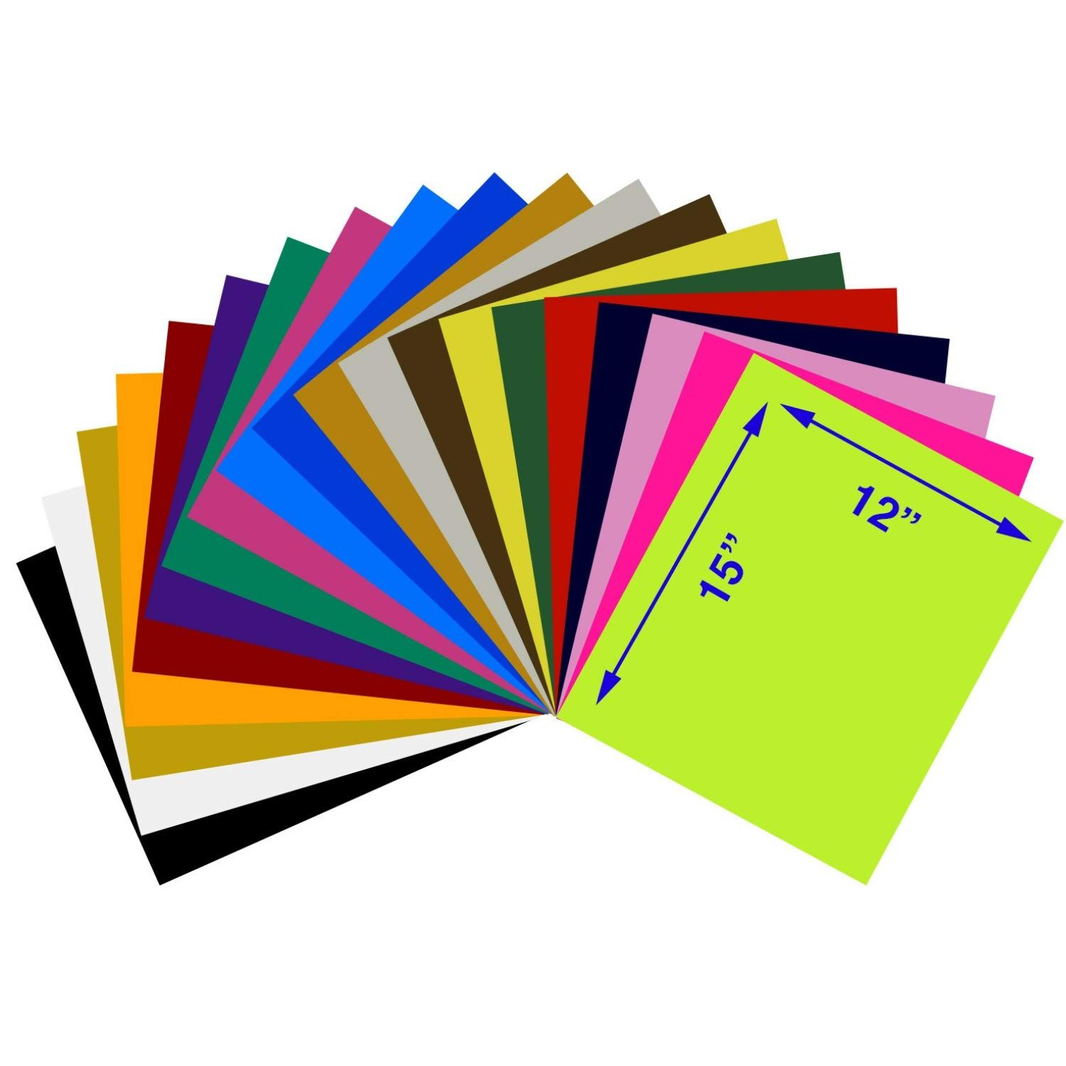 Heat Transfer Vinyl Assorted Colors Starter Pack 20 Sheets 12 X 15 Htv Bundle Iron On For Diy T Shirts Heat Transfer Vinyl Iron On Letters Small Letters