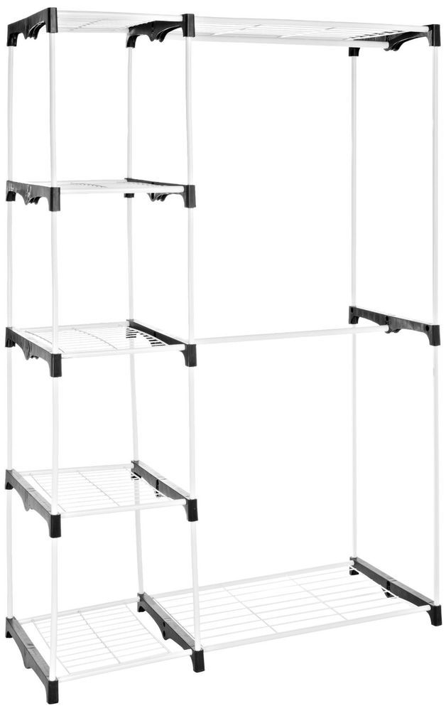 Whitmor Double Rod Closet, WHITE, Home Bedroom Organizer Storage New SetUp # Whitmor